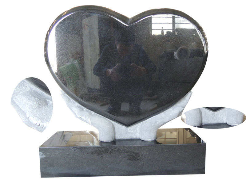 Heart Shaped Grave Monuments With Black Granite