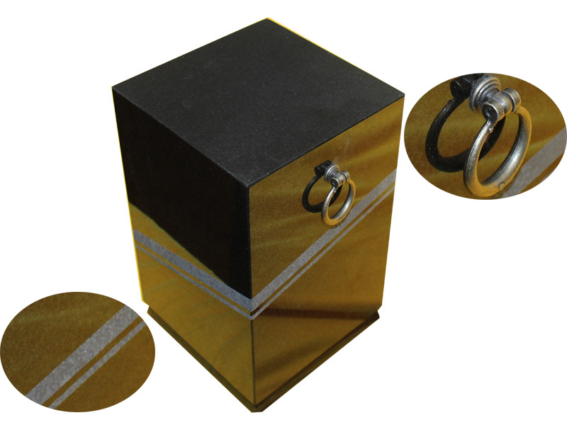 Black Granite Square Cremation Urns For Burial