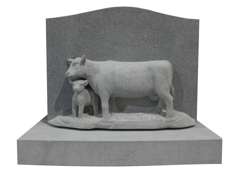 Hand Carved Cows Headstone