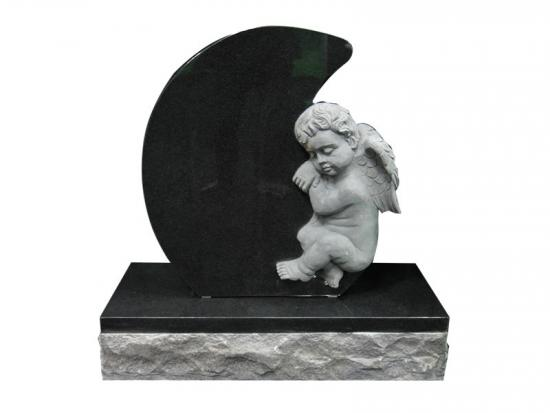 Black Granite Angel Baby Memorial