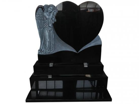 Black Granite Angel And Heart Headstone