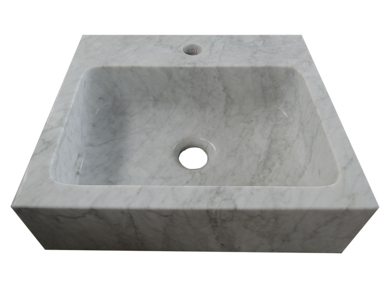Carrara White Marble Stone Basin For Bathroom