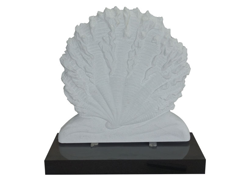 Carve White Marble Shell Shape Headstone