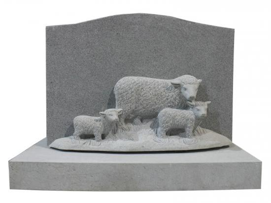 Carved Lamb Sheep In Grey Granite For Cemetery