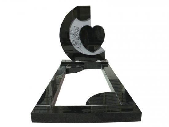 Black Granite Carved Rose And Heart Headstone