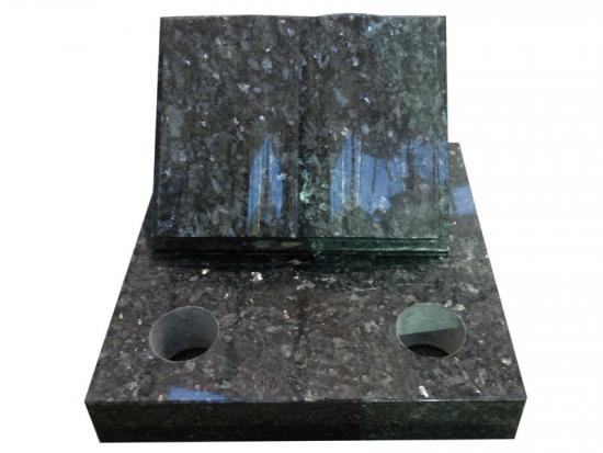 Bible Shaped Headstones In Blue Pearl Granite