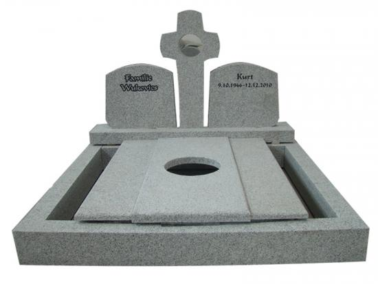 White G603 Granite Tombstone With Cross
