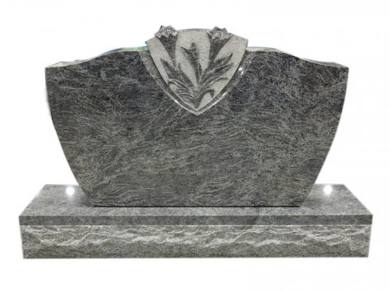 Carved Lily Memorial With Bahama Blue Granite