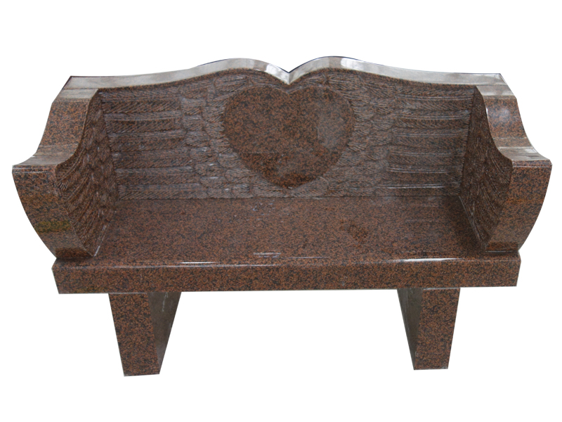 Red Granite Memorial Bench With Carved Heart And Wings